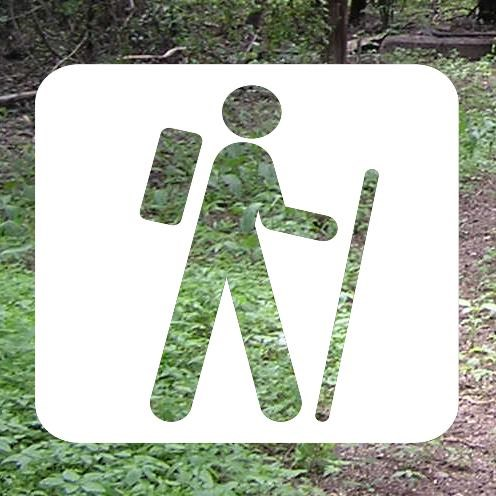 wooded path with I Hike For Health logo