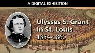 Composite image of Ulysses S. Grant and St. Louis riverfront in 1859