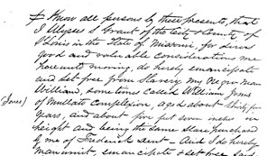 Cursive written document freeing William Jones