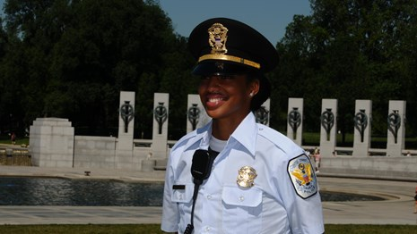 A U.S. Park Police officer at the World War II Memorial.