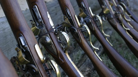 A row of 18th Century muskets.