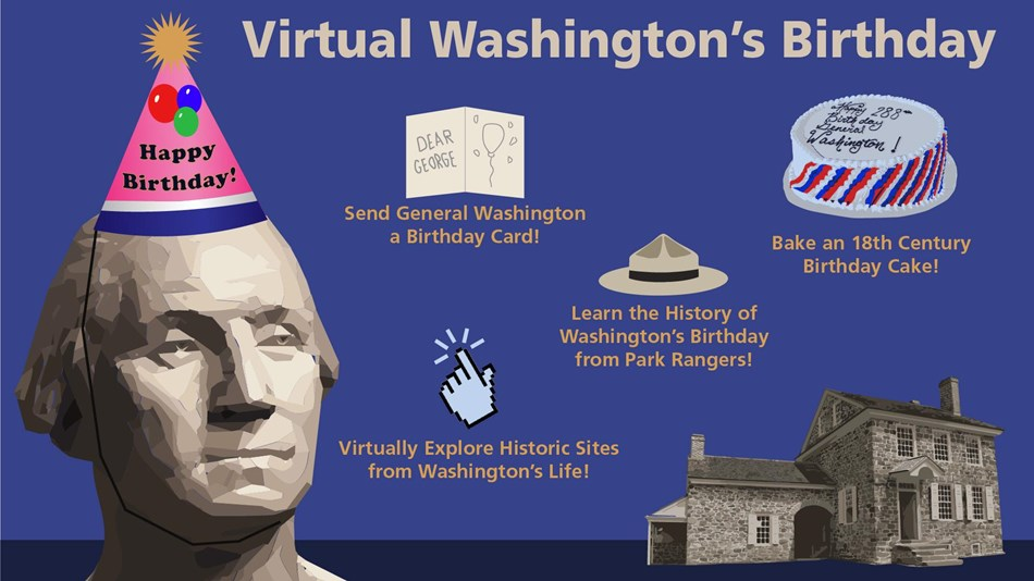 graphic, illustration, george washington, birthday card, building, cake, ranger hat