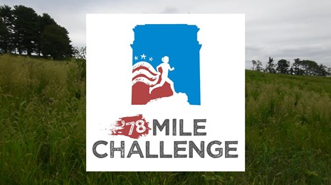 graphic, silhouette woman running, outline of memorial arch 78 Mile Challenge