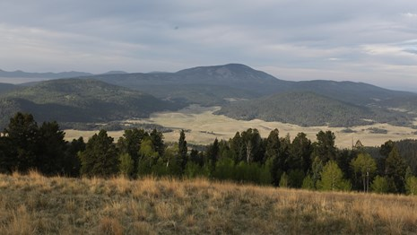 View from La Garita looking south across Valle San Antonio toward Redondo Peak