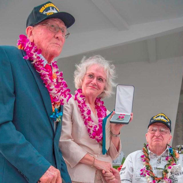 USS Arizona Survivors Don Stratton and Lauren Bruner join Joe George's daughter, Joe Ann Taylor.