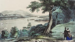 A watercolor print of a couple overlooking a river landscape.
