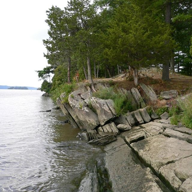 A rocky shore with trees on the banks of a wide river.