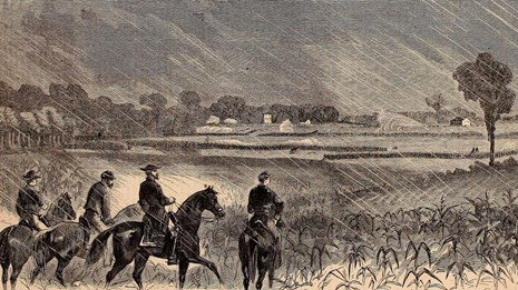 Black and white sketch of Union soldiers charging