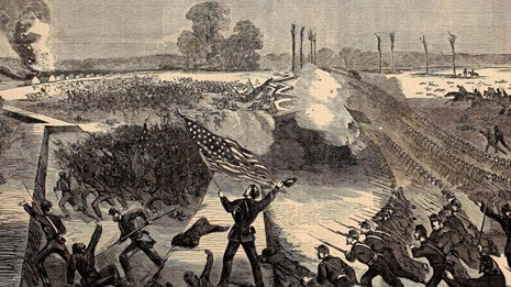 Black and white sketch of Union soldiers in lines attacking a Confederate fort