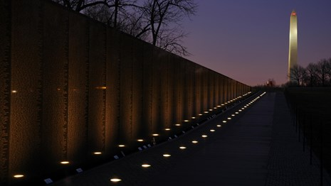 Vietnam Veterans Memorial at night