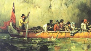 Historic print of the Voyageurs by Frances Anne Hopkins
