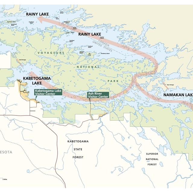 A map of Voyageurs National Park shows a series of blue lakes surrounded by green land.
