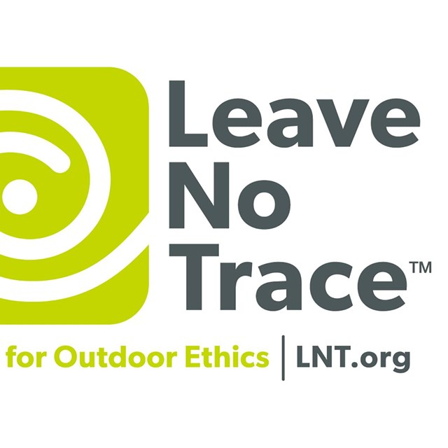 The Leave No Trace logo displays a series of white semi-circles against a lime green background.
