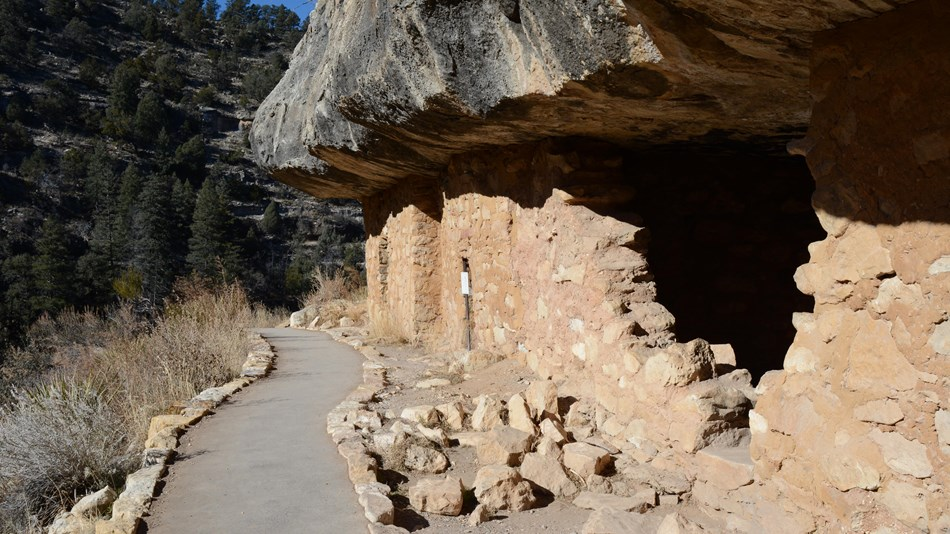 The one mile round-trip Island Trail provides access to 25 cliff dwellings.