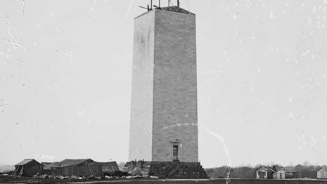 Photo of partially completed Washington Monument