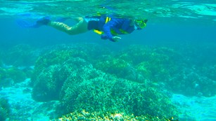 Young snorkeler in Guam's waters.
