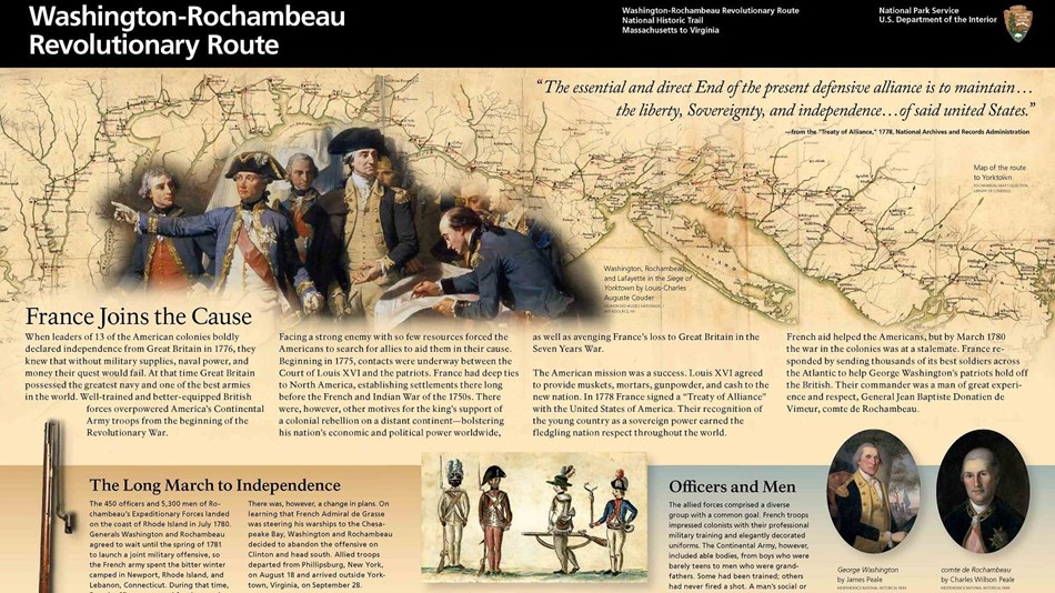 WARO Unigrid front page shows background map, portrait of both Washington and Rochambeau, with text