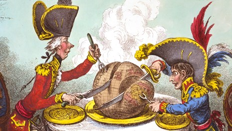 Cartoon of King George III and Napoleon dividing up the world with swords, as a pudding