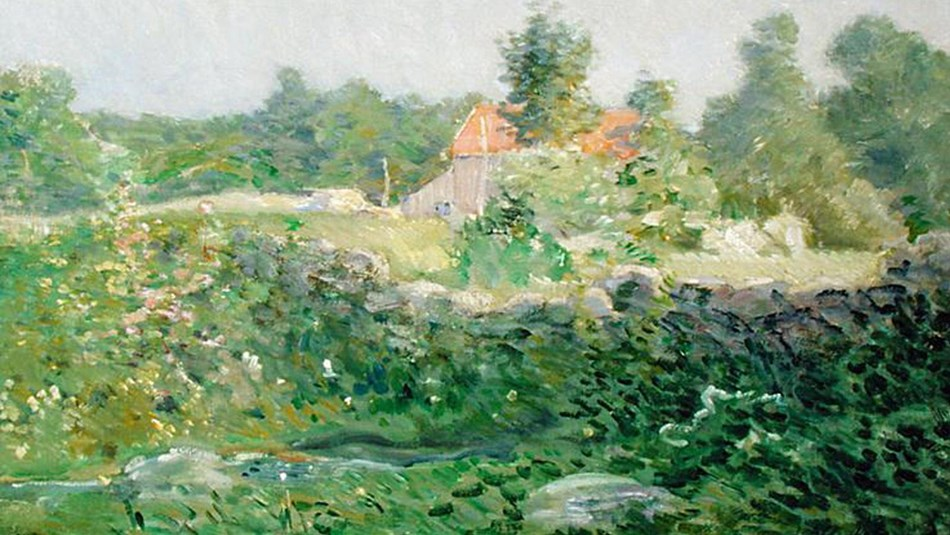 Painting by J. Alden Weir, Landscape and Farm, 1895 (Delaware Museum of Art)
