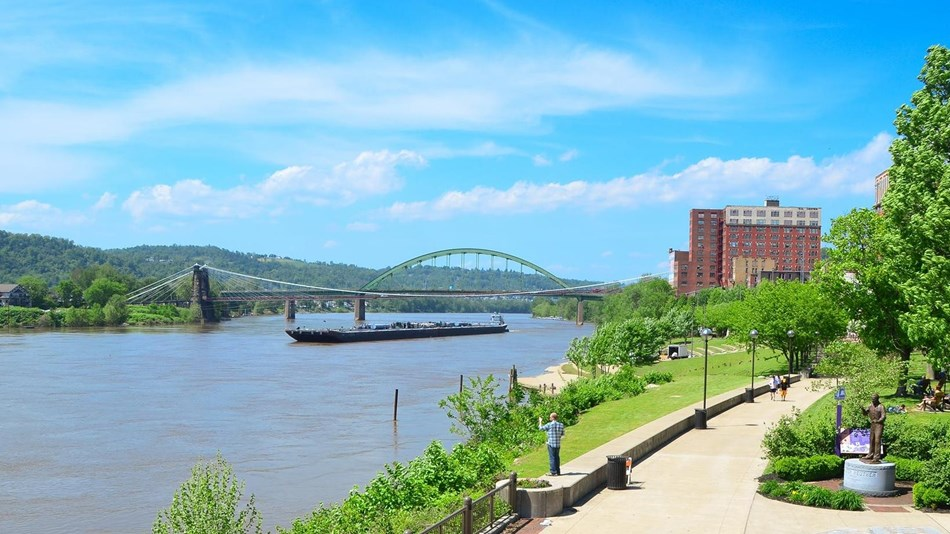 View of the Wheeling Suspension Bridge