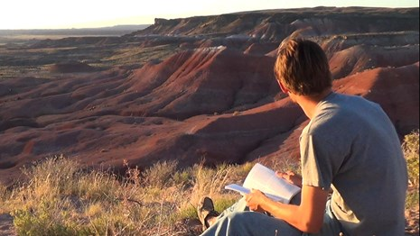 Visitor enjoys solittude and time for reflection in the Petrifed Forest Wilderness.