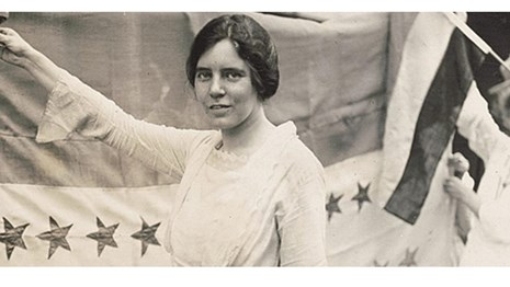Banner image for the Suffrage in 60 Seconds Series: Alice Paul and the Suffrage Flag
