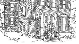 Image of coloring-book page of Susan B. Anthony's house.