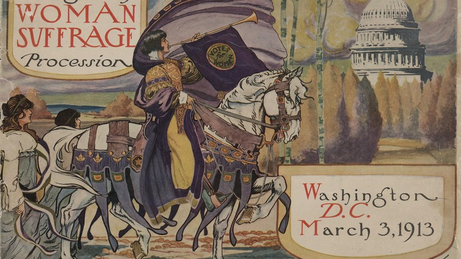 Program for Women's Suffrage Association parade-woman in elaborate attire, with cape, blowing  horn.