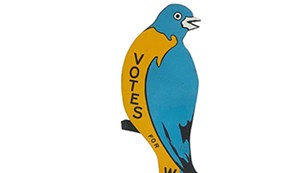 image of the Massachusetts Woman's Suffrage Bluebird, blue and gold, from the NMAH