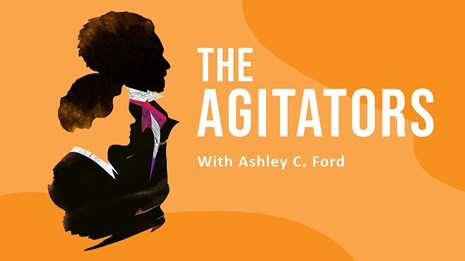 Logo for The Agitators. Orange background with black silhouettes of Douglass and Anthony