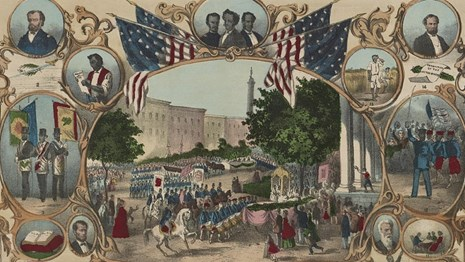 Parade surrounded by portraits of Black life, illustrating rights granted by the 15th amendment.