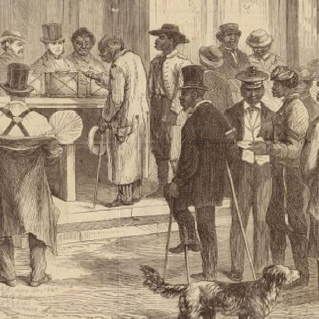 African American waiting in line to cast their ballots.