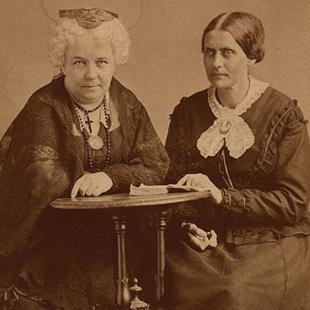 Elizabeth Cady Stanton (left) and Susan B. Anthony (right)