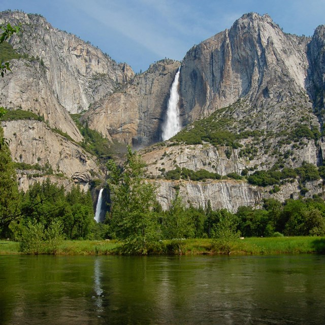 cliffs and waterfall of Yosemite park. NPS photo.