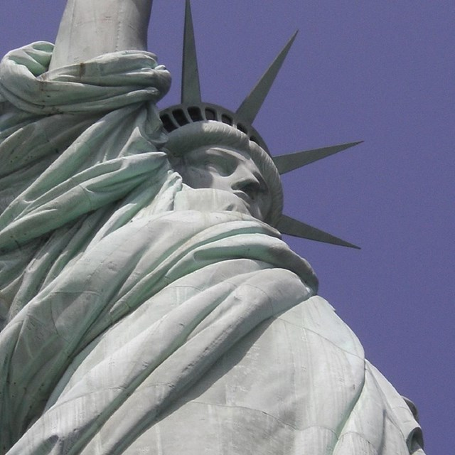 Close up of Statue of Liberty face, courtesy NPS.
