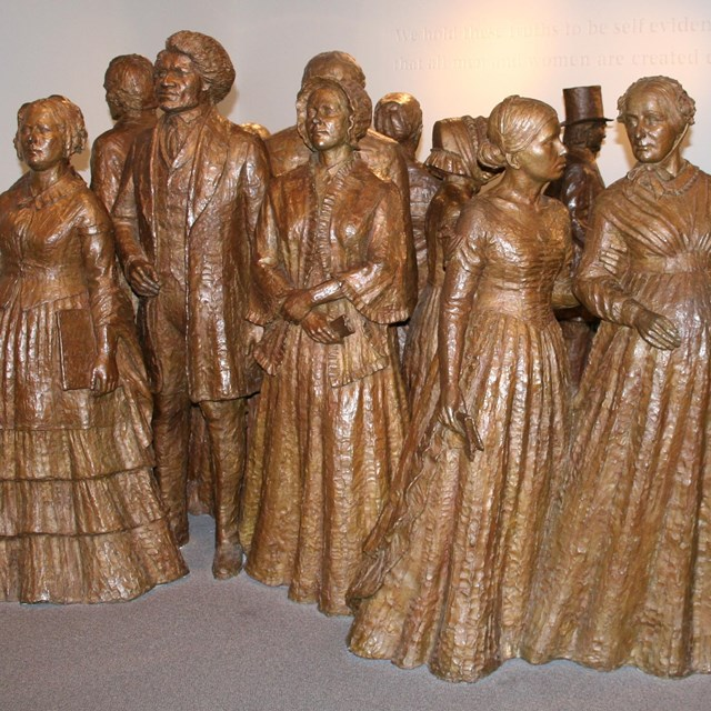 Bronze statues of attendees of the Seneca Falls Convention, 1848. Courtesy NPS.