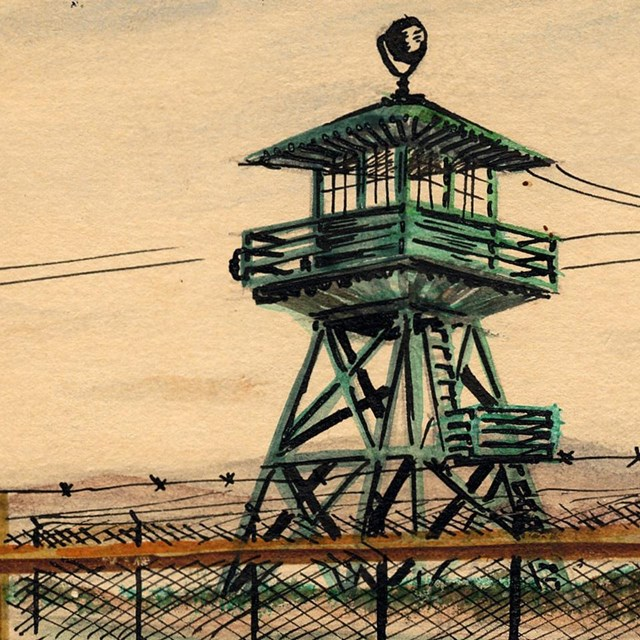 color drawing of watch tower and barbed wire fence