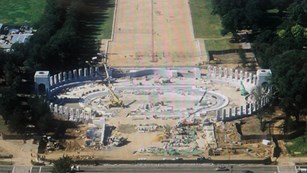 Aerial view of construction of the World War II Memorial