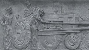 Bas relief showing American agriculture