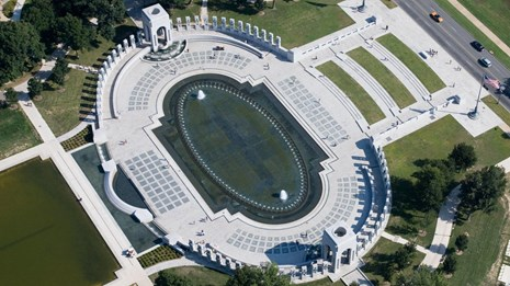 Aerial view of the World War II Memorial