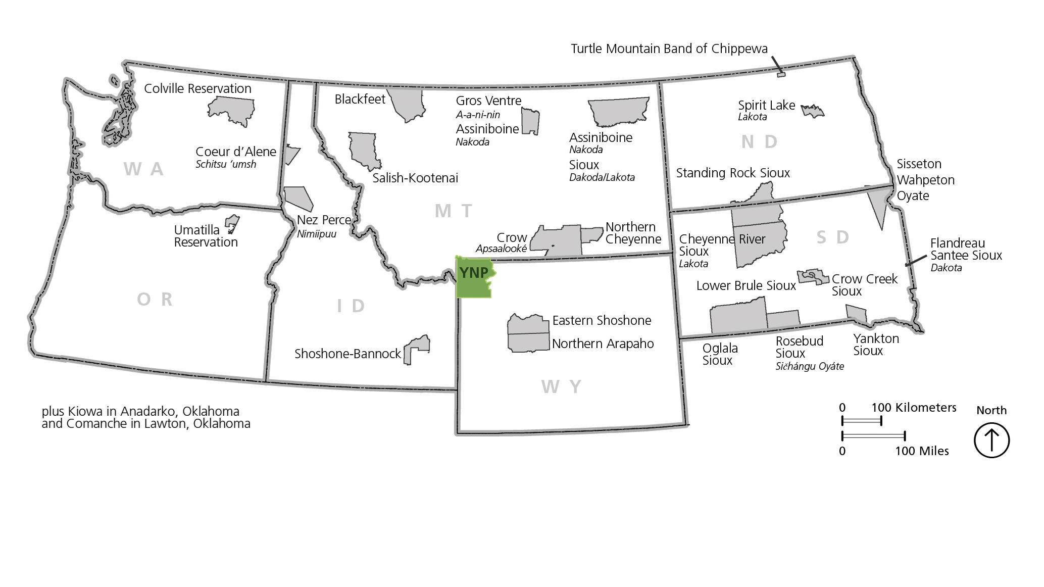 photograph regarding Native American Regions Map Printable identify Historical Tribes - Yellowstone Nationwide Park (U.S. Countrywide