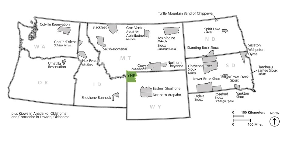 Map of the northwestern US showing 26 tribes that have ties to the Yellowstone area.