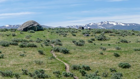 Large boulders are strewn across a sagebrush field with a path crossing it.