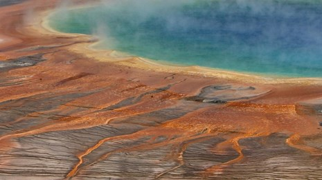The rainbow colors of Grand Prismatic Spring range from blue to orange.