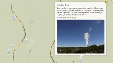 Map of Norris Geyser Basin showing a brief description and image of Steamboat Geyser.