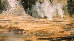 A landscape painting of steaming geysers