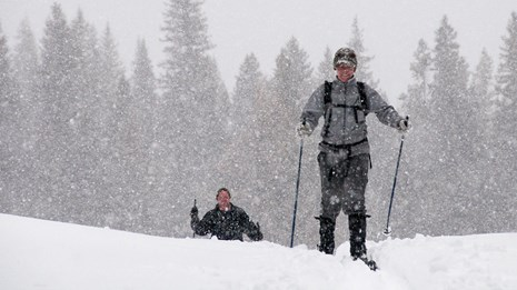 A pair of skiers on the Barronette Trail.