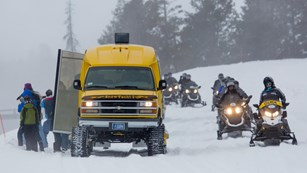 Snowmobiles and a snowcoach ride by a small group of bison