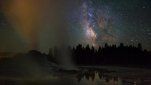 Night view of Milky Way and Castle Geyser