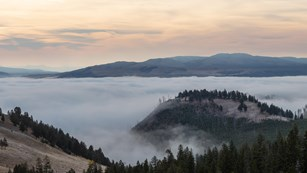 Fog fills a river valley in a landscape